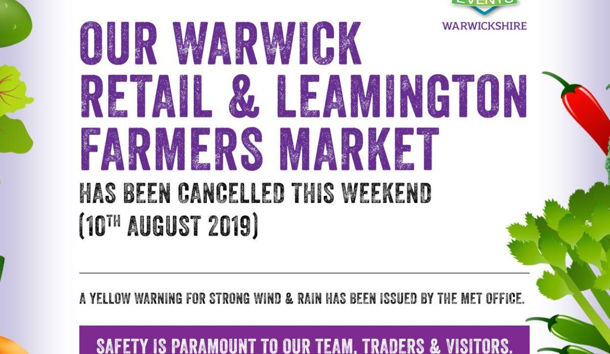 Warwick retail & Leamington farmers - Saturday 10th August 2019